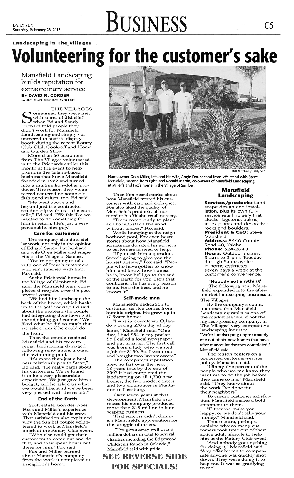Mansfield Landscaping - The Villages Daily Sun Article - February 23, 2013